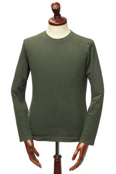 sanded jersey crew neck サンデッドジャージー ロングスリーブ クルーネック カットソー /  オリーブ tapenade【UOMO 7月号掲載】